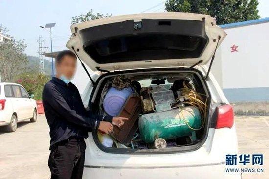 人赃并获,毒贩空压机藏毒近4公斤被抓
